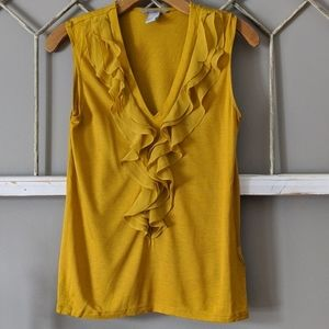 H & M golden ruffled sleeveless tank Small
